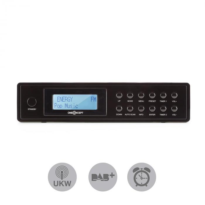KR-120 DAB Kitchen Radio Under-cabinet DAB+ FM RDS Black Telescopic Antenna
