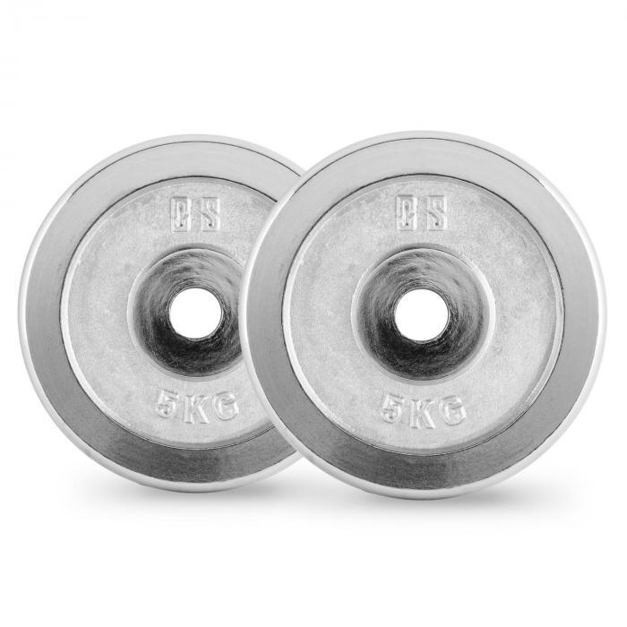 Set Dischi Per Sollevamento Pesi 30 kg con Supercurl Bar 2 x 5 kg + 2 x 10 kg