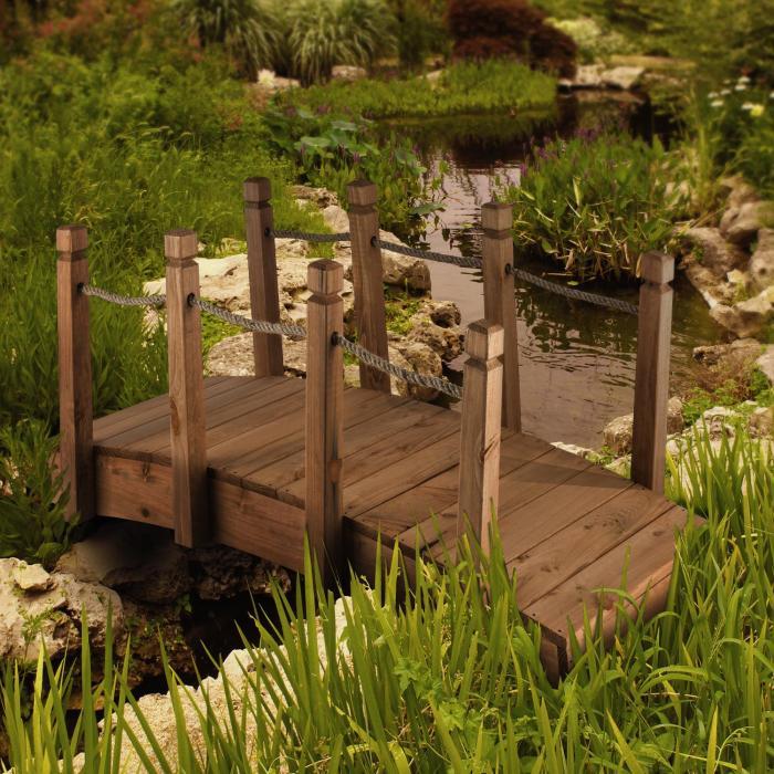 Rialto Ponte Decorazione Giardino 58x58x122cm Corda Legno Massiccio