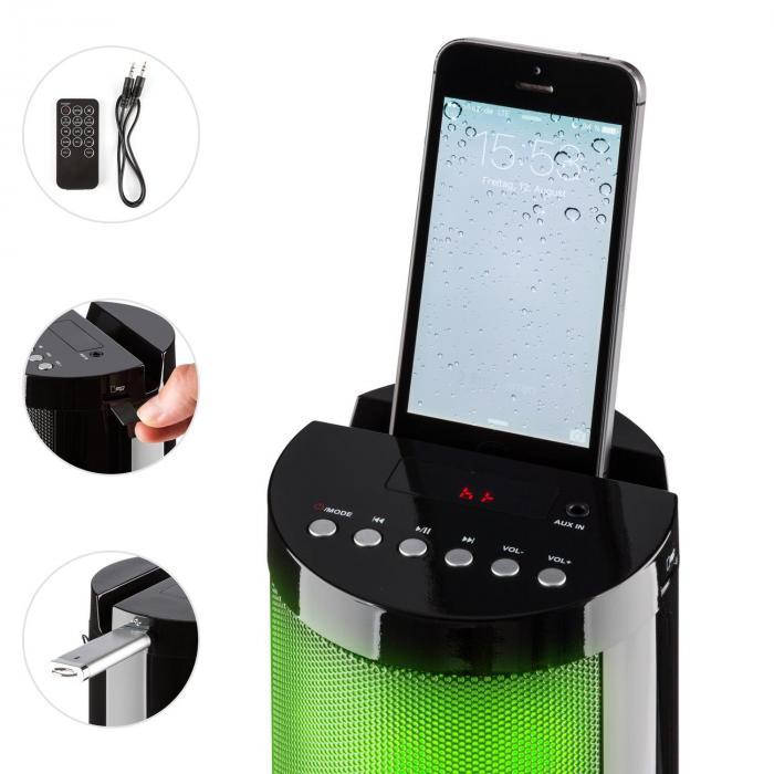 Light Up Tower Speaker Turmlautsprecher 40 W Bluetooth LED USB UKW schwarz