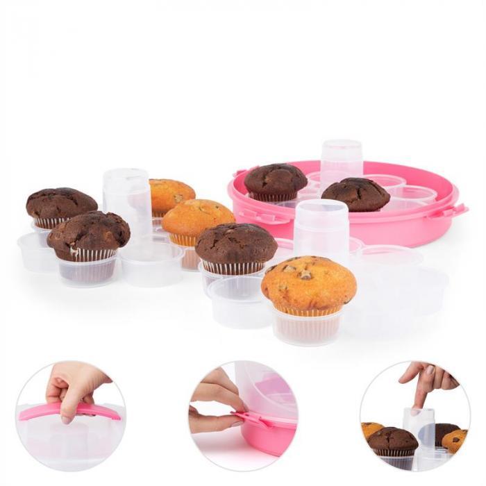 Pinkkäppchen Guarda Bolos e Pães Porta Cupcakes Ø26cm Rosa