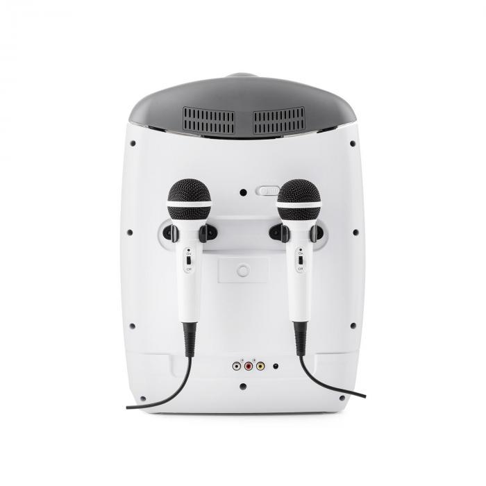 Kara Projectura valkoinen + Dazzl mikrofonisetti karaokelaitteisto mikrofoni LED-valaistus