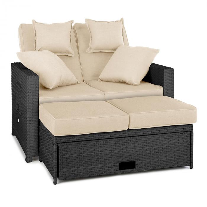 komfortzone rattan lounge sofa zweisitzer polyrattan klapptische grau grau online kaufen. Black Bedroom Furniture Sets. Home Design Ideas