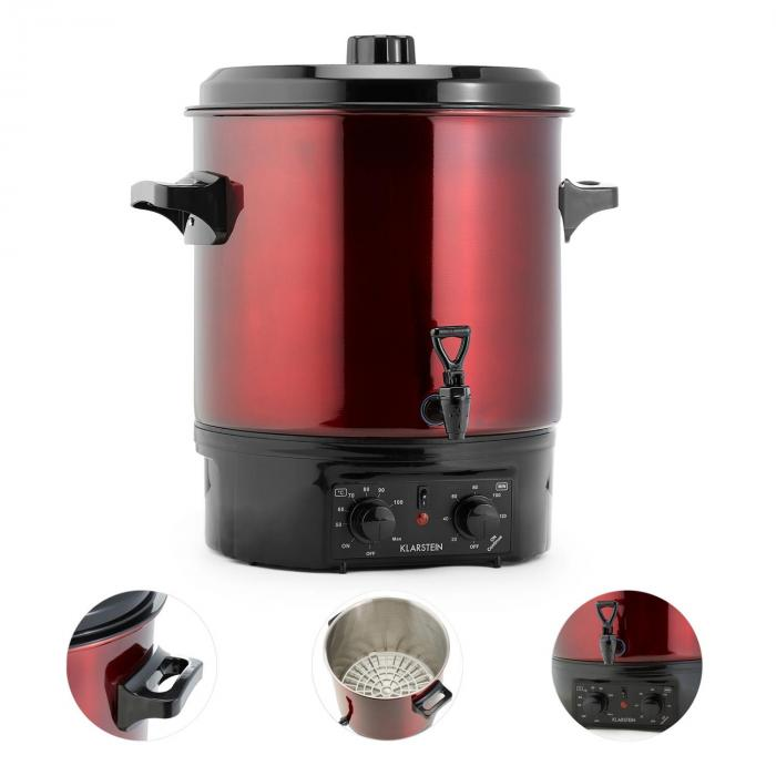 Biggie Preserving Cooker Stainless Steel 27 Litres 2000W Timer Red