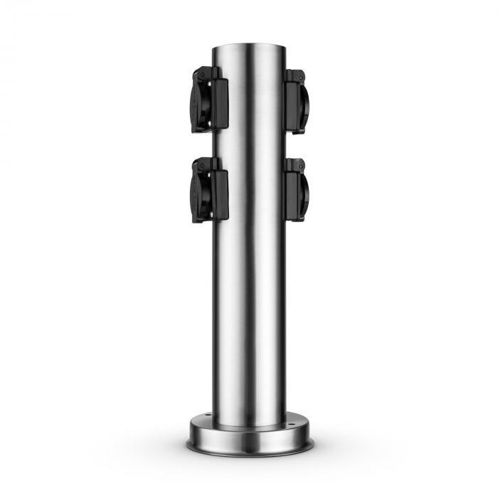 Plug 4 Play Round pistoketolppa 4 pistorasiaa suko pyöreä ruostumatonta terästä