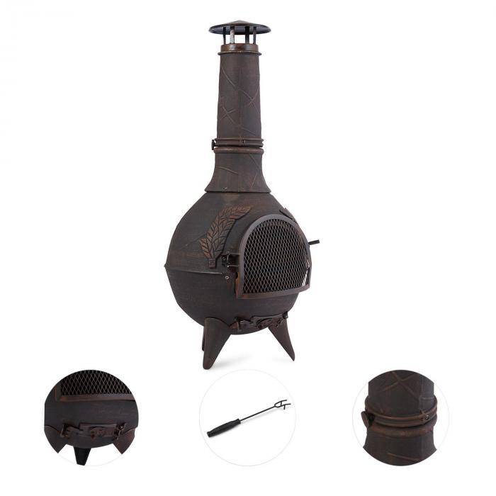 Augustus Lareira p/Terraço ou Jardim Ferro Fundido 120 cm Design Retro Bronze