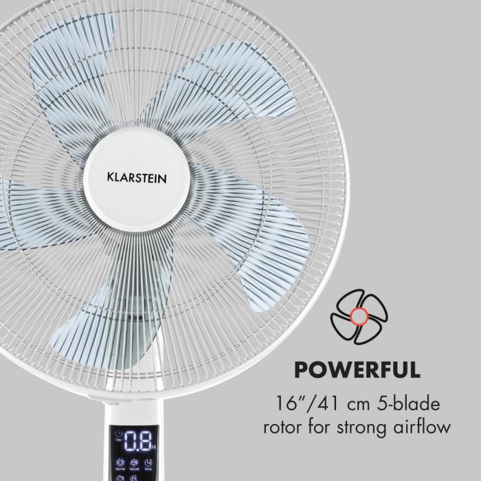 """Silent Storm Ventilatore 16"""" (41cm) Rotore a 5 Pale 35W 80m³ bianco"""