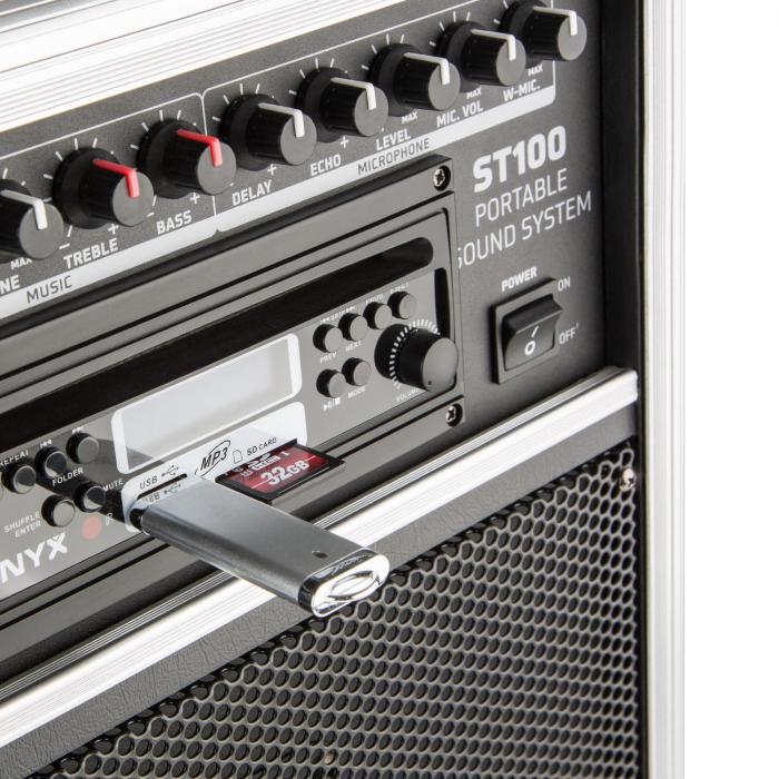 ST-100 MK2 kannettava PA-audiojärjestelmä bluetooth CD USB SD MP3 akku UHF