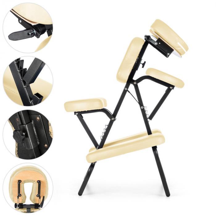 MS 300 Cadeira p/ Tatuagens e Massagens 120kg Mala de transporte Bege