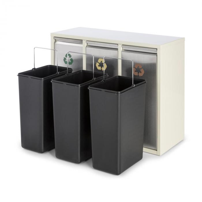 Ordnungshüter 3 Rubbish Bins Waste Separator 45L (3 x 15 L) Creme Beige