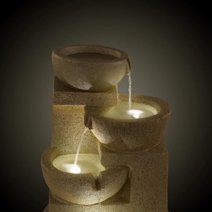 Korinth Garden Fountain Ornamental Fountain 3W Solar LED Sandstone Look