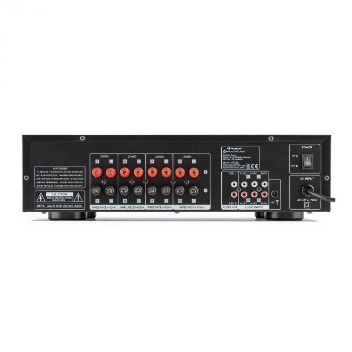AV2-CD850BT 4-alueen stereovahvistin 5x80W RMS Bluetooth USB CD musta