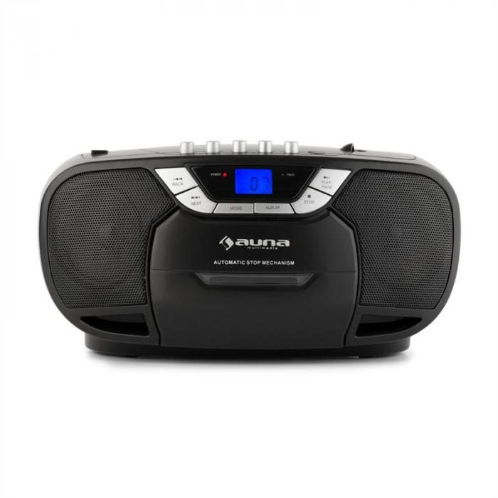 BeeBerry Boom Box Ghettoplaster Radio CD/MP3 Player Tape Player black