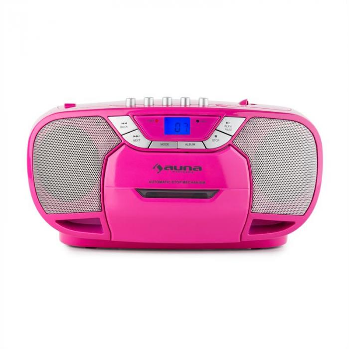 BeeBerry Boom Box Ghettoplaster Radio CD/MP3 Player Tape Player pink