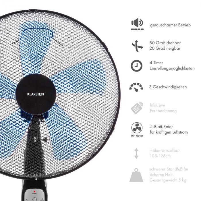Summerjam Ventilatore 41cm 50W Emissione aria 69,18 m³/min nero
