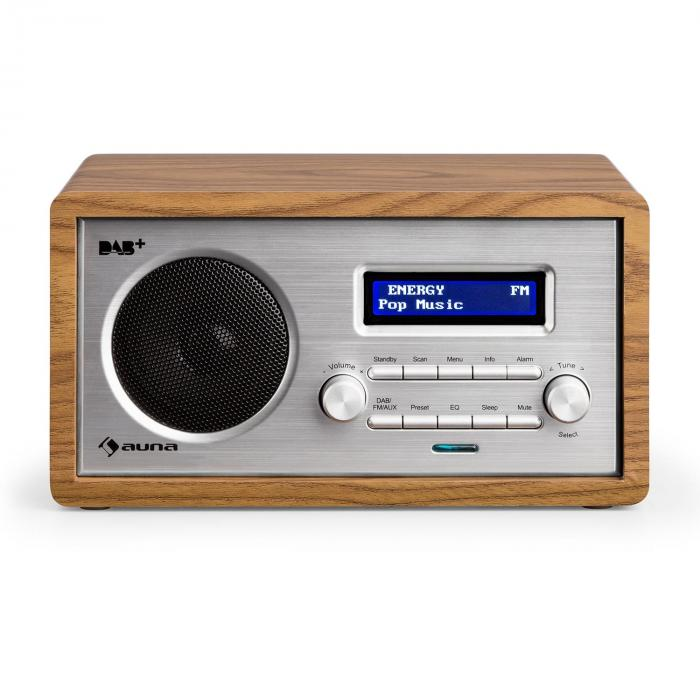 Harmonica Radio DAB+/UKF podwójny alarm Aux LCD obudowa drewniana kolor orzechowy