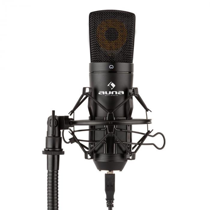 Auna MIC-920B USB mikrofonisetti V2 kondensaattorimikrofoni mikrofonistatiivi pop-suoja
