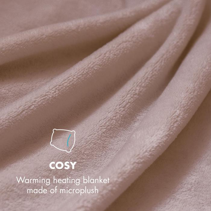 Dr. Watson XXL Electric Heating Blanket 120W Washable 200x180cm Microplush Beige