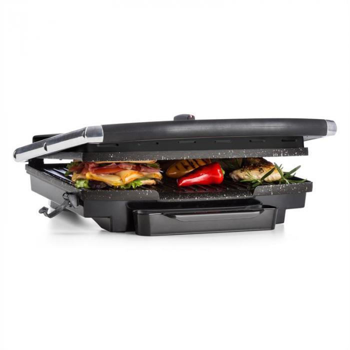 Edelstein Grill A Contatto Multifunzioni Piastra Per Panini 2000W 240°C Acciaio Inox Nero