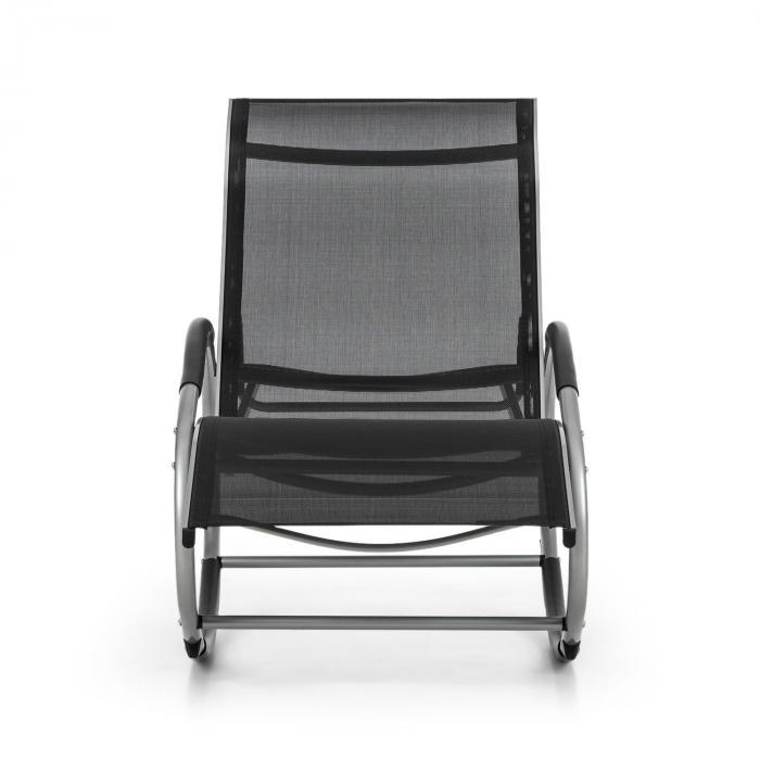 Santorini Schaukelstuhl Liegestuhl Aluminium Polyester schwarz