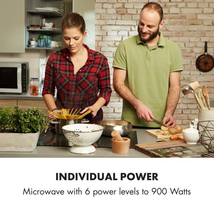 Brilliance Roomy mikroaaltouuni 900 W 25 l 6 tehoporrasta grilli hopeanvärinen