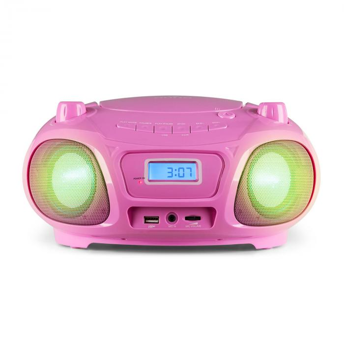 Roadie Sing CD Boombox Radio OUC Show Luci Lettore CD Microfono rosa