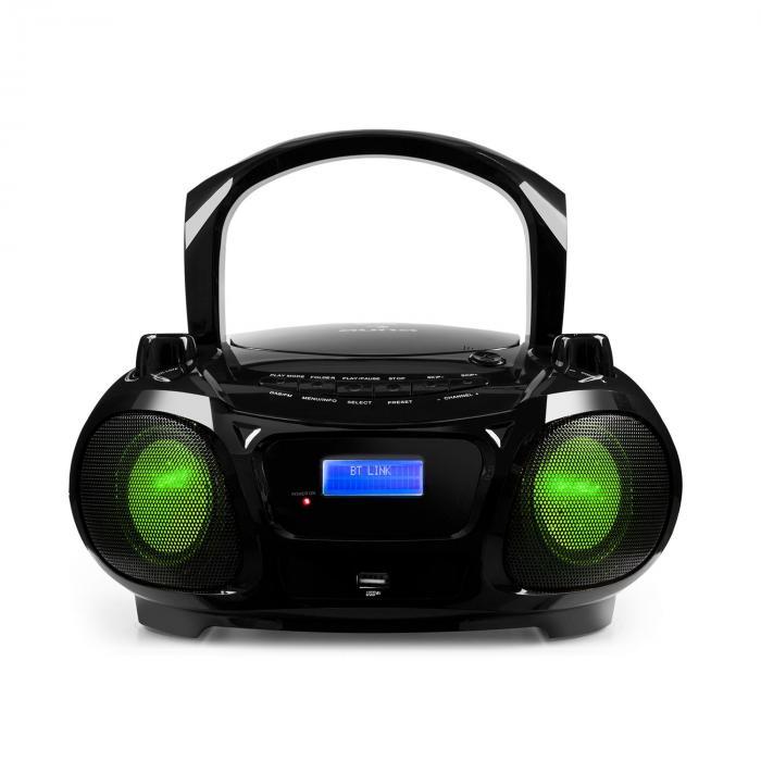 Roadie DAB CD-soitin DAB/DAB+ UKW LED diskovaloefekti USB Bluetooth musta