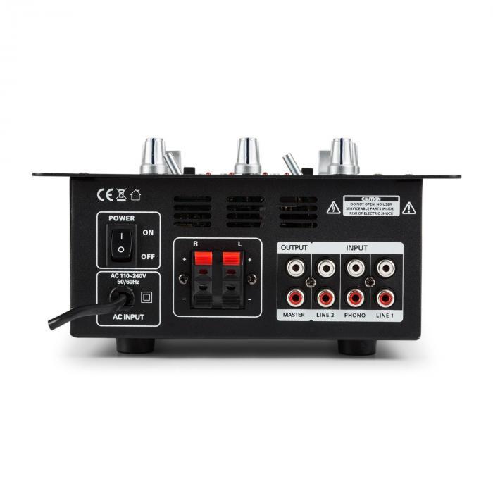 DJ-25 DJ-mixer + auna ST-2000 luidsprekerset zwart/blauw
