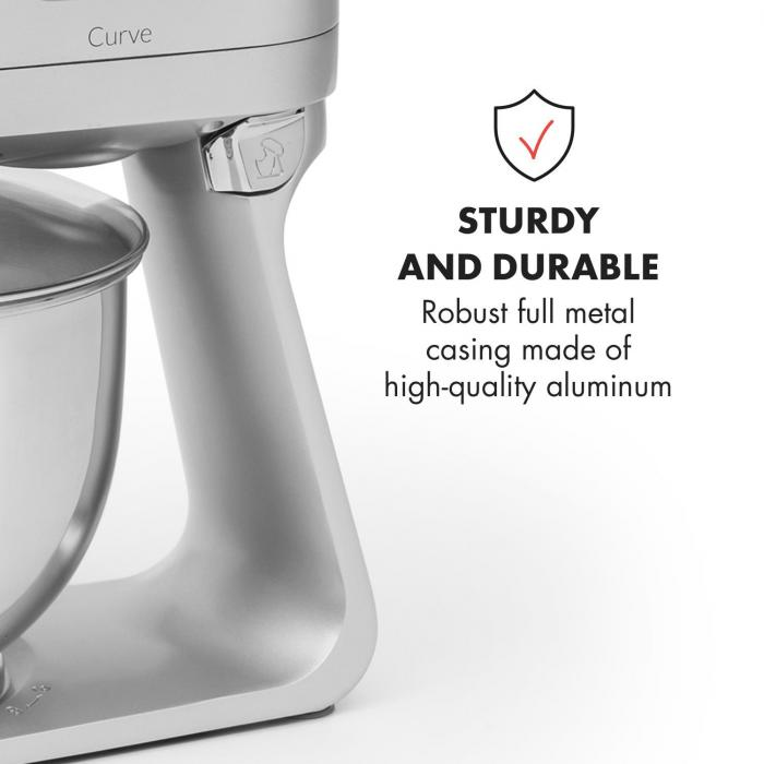 Curve Food Processor LED Display 5 Speed Silver