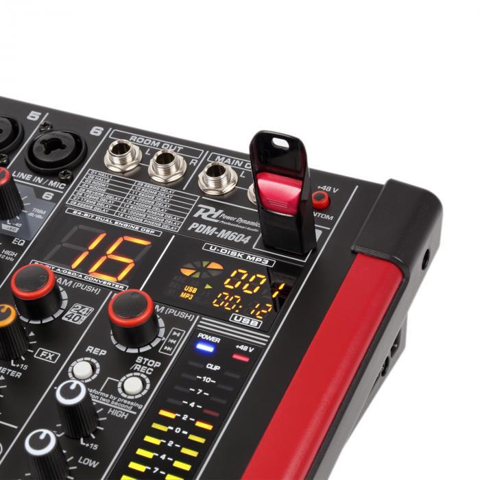PDM-M604 Music Mixer 6 Ingressi Micro Processore Multi FX 24-Bit