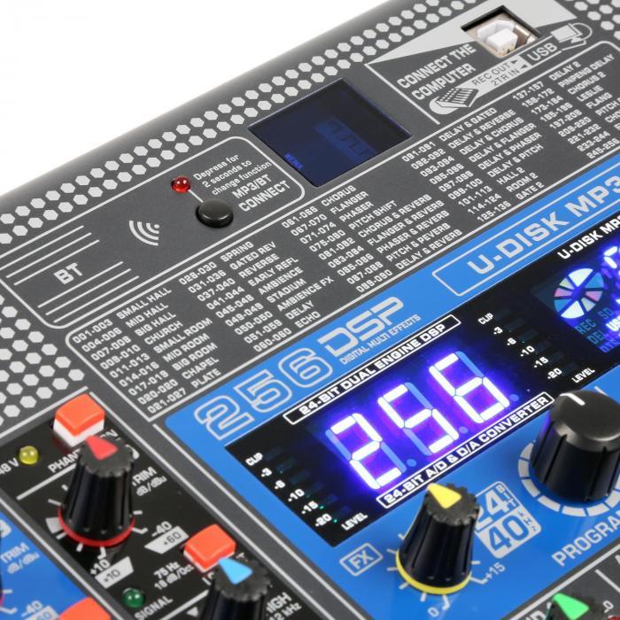 PDM-S2004 20-kanałowy pulpit mikserski DSP/MP3, port USB, odbiornik Bluetooth