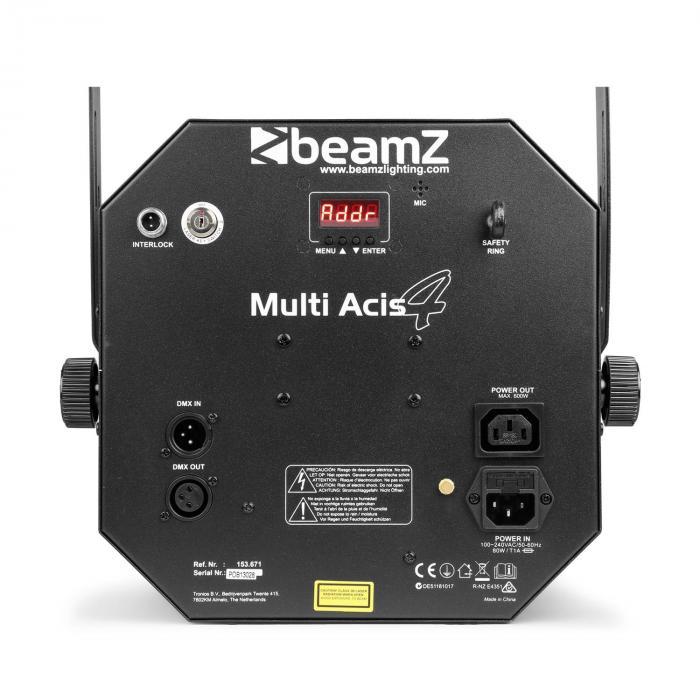 MultiAcis IV derby, laser, wash ja stroboskooppi DMX-/stand alone -tila