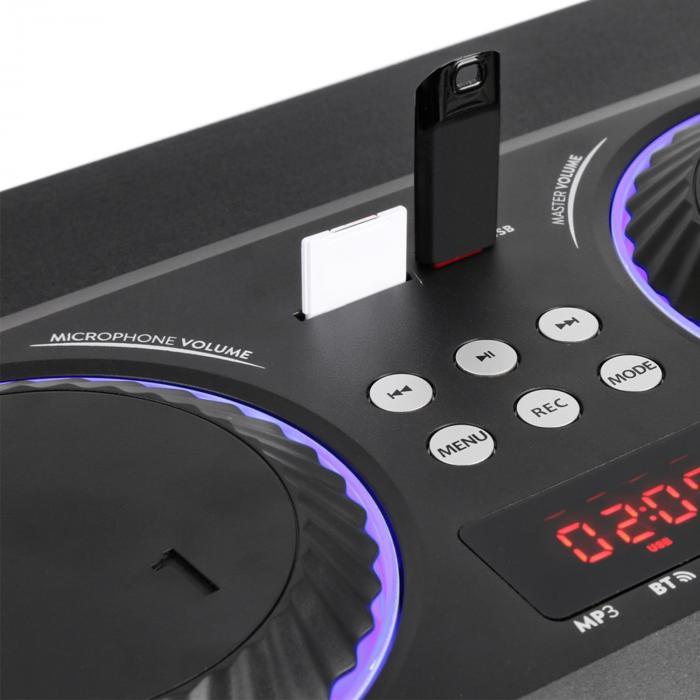 """MDJ115 odtwarzacz multimedialny USB SD BT AUX 120W wzmacniacz 5,5"""" woofer LED RGB"""