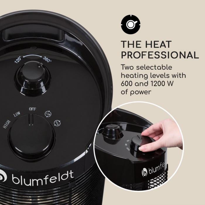 Blumfeldt Heat Guru 360 Stand Radiant Heater 1200 600w 2