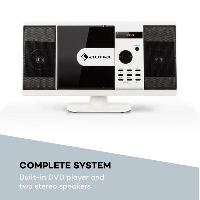MCD-82 BT Equipo de sonido vertical DVD/CD Bluetooth USB/SD FM HDMI Blanco