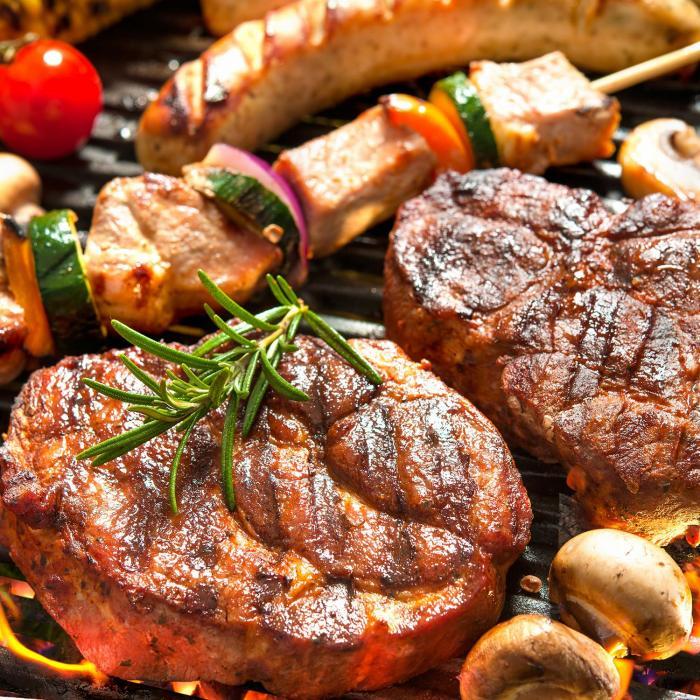 Steakhouse Copertura per Griglia 220x215x140cm PE 180 g/m² Acciaio Ritardante di Fiamma grigio