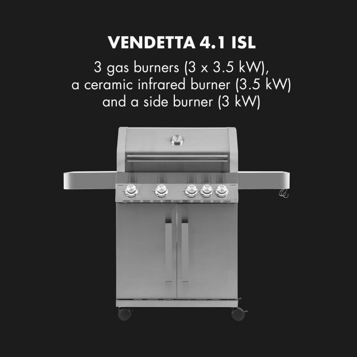 Vendetta 4.1 ISL Gasgrill 5 Brenner 17 kW 71 x 45,5 cm Grill Edelstahl