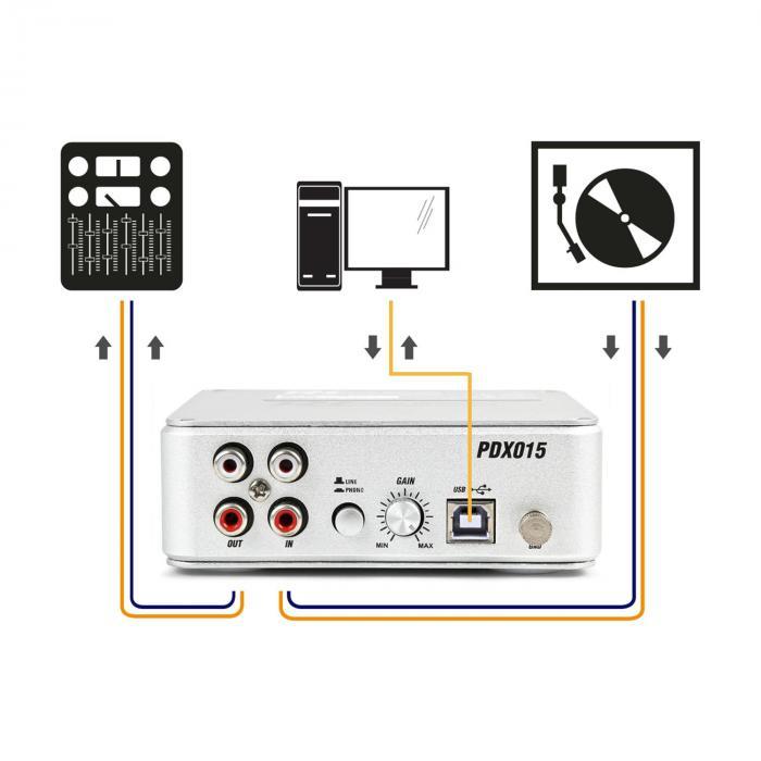 PDX015 phono-voorversterker software USB 2.0 aansluiting zilver