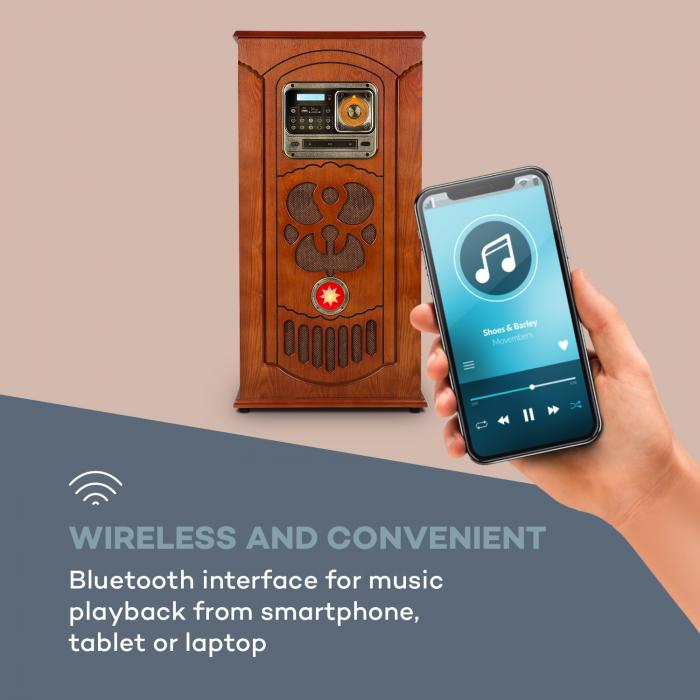 Musicbox Jukebox, Giradischi, Lettore CD, BT, USB, SD, Ricevitore FM, Legno