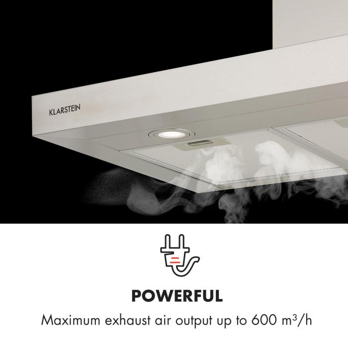 Zarah 90 Cooker Extractor Hood 90cm Exhaust Air: 600 m³ / h LED Stainless Steel