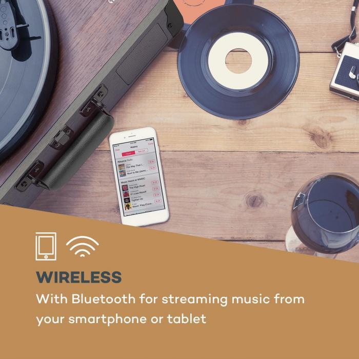 Billy Bob Plattenspieler mit BT Stereolautsprecher Bluetooth schwarz