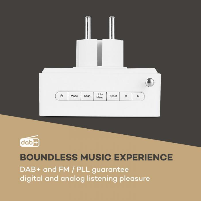 DigiPlug DAB Rádio Tomada Elétrica, DAB+, UKW/PLL, BT, Display LCD, Branco