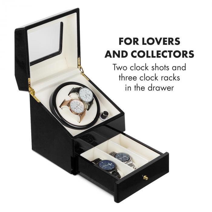 Geneva horlogeopwinder 2 horloges 4 modi schuiflade zwart