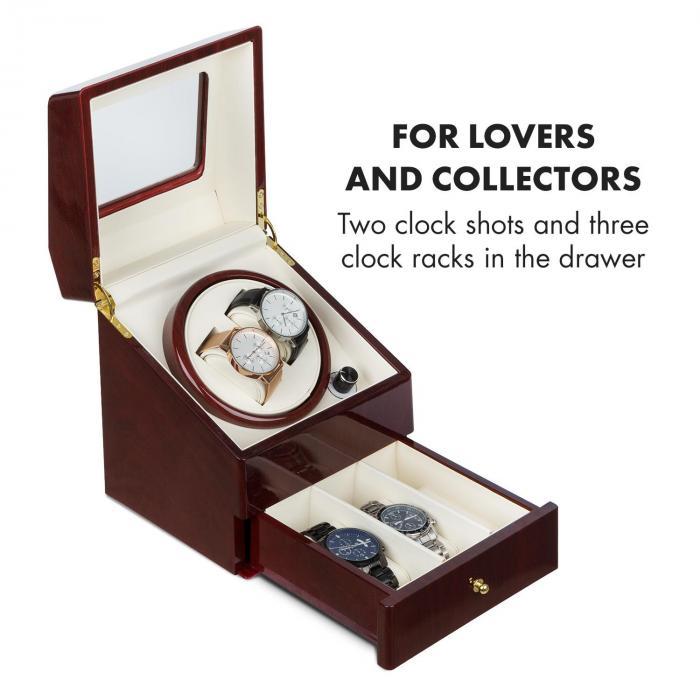 Geneva -kellonliikuttaja 2 kelloa 4 modusta vetolaatikko ruusupuuoptiikka