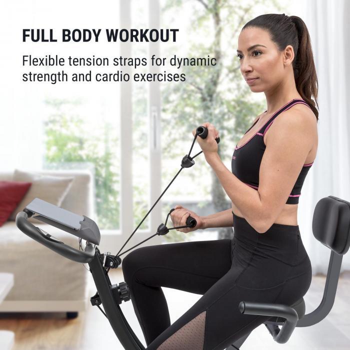 Klarfit X-Spline Exercise Bike, Flexible Drawstrings, Belt Drive, Black