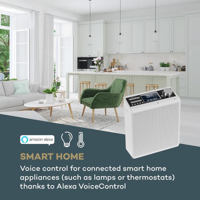 Intelligence DAB+ Kitchen Radio Alexa VoiceControl, Spotify, BT, White