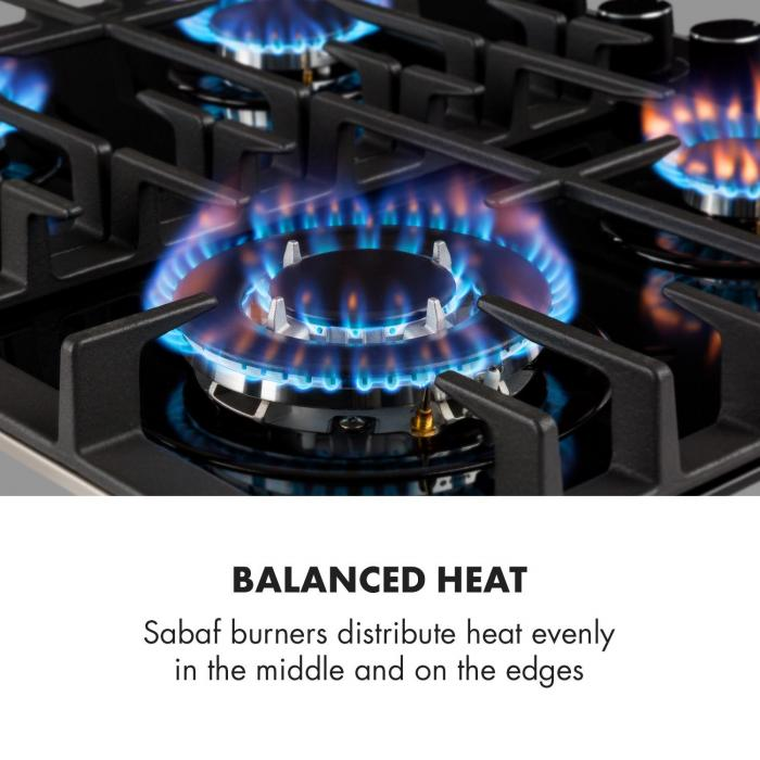 Ignito 4 Zone Gas Hob 4-Burner Sabaf Burner Glass Ceramic Black