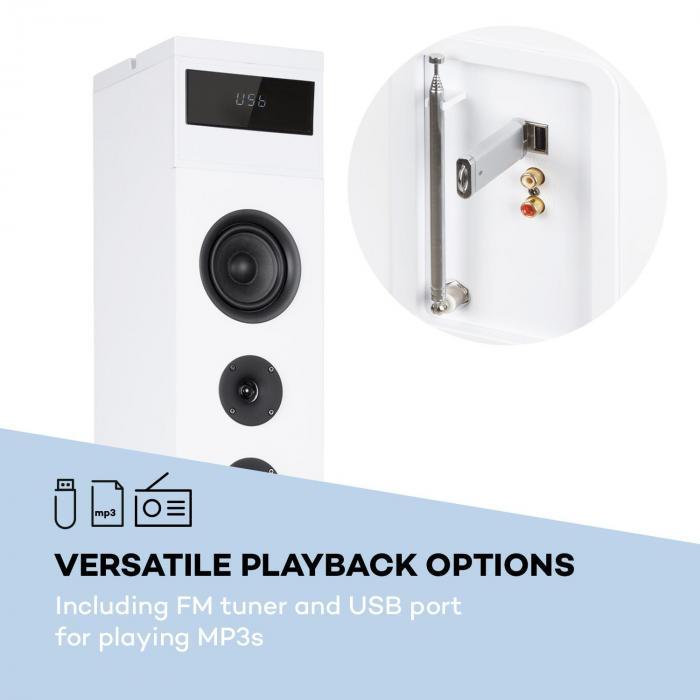 Karaboom 100 högtalare max 120W BT/USB/MP3/FM/AUX-In hållare surfplatta vit