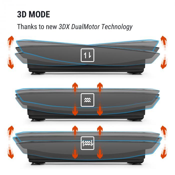 Vibe 3DX Vibration Plate, 2 x 250 W, 3 Modes, 3DX DualMotor, black
