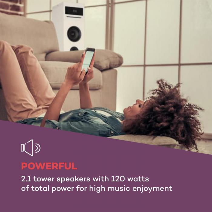 Karaboom 100 Sing Karaoke Tower 120W max. CD Player 2 Microphones Wireless